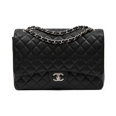 266b2fd7a4f Chanel Maxi Jumbo Double Flap Bag In Black Quilted Caviar Leather