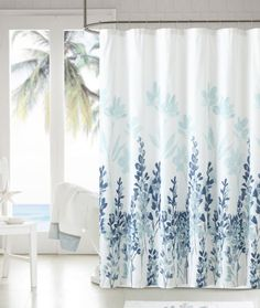 mirage teal blue white floral flowers fabric bathroom shower curtain