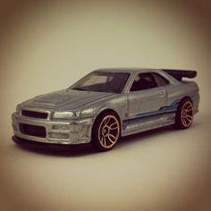 #158 - Nissan Skyline GT-R (R34) - 2013 Hot Wheels - HW Showroom - Asphalt Assault - ZAMAC - WALMART
