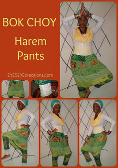 The BOK CHOY Harem Pants  refashioned and by EYESEYEcreations, $36.00 Refashion, Harem Pants, Apron, Pinafore Dress, Harem Jeans, Aprons