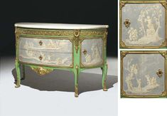 A LATE LOUIS XV ORMOLU-MOUNTED GRISAILLE AND GREEN-PAINTED DEMI-LUNE COMMODE  BY RENE DUBOIS, CIRCA 1770