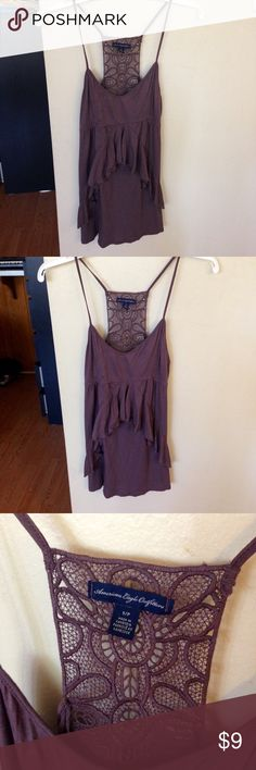 American Eagle ruffle crochet back tank top A cute American eagle tank top in a size small. Has ruffle decorations in the front and crochet details in the back. Light and thin material. American Eagle Outfitters Tops Tank Tops