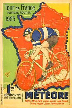 Tour de France route map poster, 1925