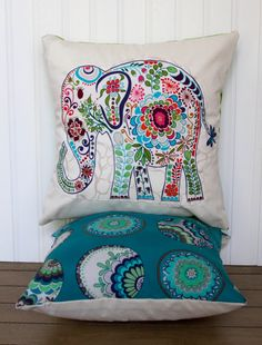 """Elephant Pillow- 12""""x12"""" Decorative Throw Pillow Cover with blue paisley elephant appliqué and peacock blue backing backing"""
