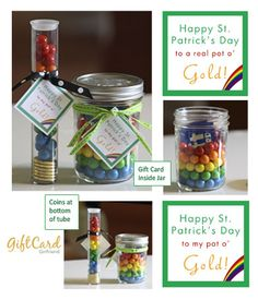 Turn an ordinary gift card into a Pot of Gold! Mason Jar Gift Card Holder and Tag #FreePrintable #Giftcards