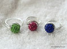 Learn jewelry making and beading - Adjustable Wired Ring with Sparkling Bead Tutorial