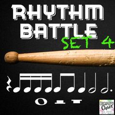 Rhythm Battle Set 4: projectable rhythm flash cards. Organized Chaos. Great way to review rhythm notation reading! Includes rhythms up to and including sixteenth, eighth, quarter, half, dotted half, and whole notes, and quarter, half, and whole rests. Large notes for easy reading. No more squinting at flash cards! One 4-beat rhythm pattern on each slide. Game directions included. Great for Music In Our Schools Month (MIOSM), end of the school year review, or any time!