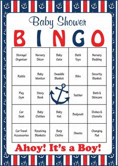 Baby Shower Bingo is played as mommy-to-be opens her gifts! Our popular navy and red nautical baby shower theme is perfect for a baby boy shower. INSTANT DOWNLO