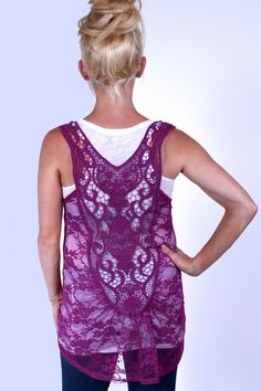 Wild Orchid Lace Tank Top from  Heritwine Maternity.  Great to use for a bathing suit cover up.