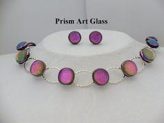 Sheila Moran's Pink Dichroic Glass Suite by prismartglass on Etsy, Irish Design, Dichroic Glass, Glass Art, Artisan, Pink, Crafts, Etsy, Manualidades, Jar Art