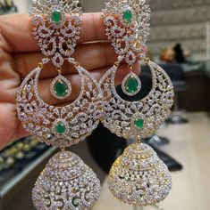 Pretty Long Chandbali Jhumkas with American Diamonds & Emerald Stones Gold) - Traditional and Fashion Indian Jewellery for Brides Diamond Earrings Indian, Indian Jewelry Earrings, Fancy Jewellery, Diamond Jewellery, Jewelery, Jhumkas Earrings, India Jewelry, Hoop Earrings, Women's Dresses