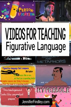 This article shares a collection of videos to revise or teach figurative language, including metaphors, comparisons, hyperbola and personification. Teaching Poetry, Teaching Language Arts, Language Lessons, Language Activities, Teaching Reading, Teaching English, Reading Skills, Idioms Activities, Language Arts Games