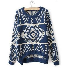 Stylish Round Collar Long Sleeve Geometric Asymmetrical Women'S Sweater LAVELIQ