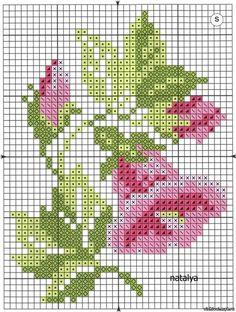 Cross stitch chart, a pink flower