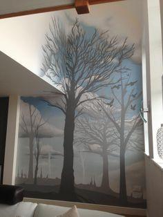 Client: Private - Livingroom graffiti Mural - #graffiti #design #interiordesign #livingroom #outsidein #handpainted #bespoke #custom #scenic #trees