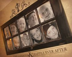 Sassy Sites!: window frame used as picture frames for the family.. Cool!!