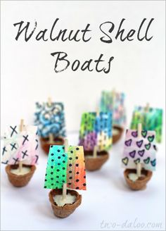 Make these sweet walnut shell boats with watercolor pencil sails.