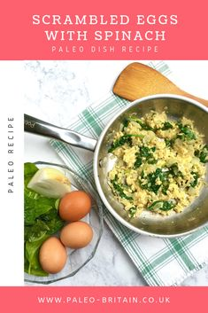 Scrambled Eggs with Spinach⁠ ⁠ #Paleo #recipe #food #keto #diet ⁠