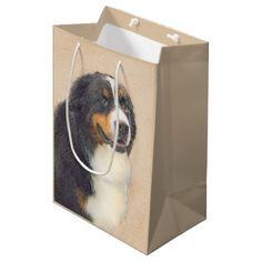 #Bernese Mountain Dog Medium Gift Bag - #bernese #mountain #dog #puppy #dog #dogs #pet #pets #cute #bernesemountaindog