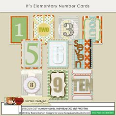 It's Elementary Number Cards by Baers Garten Designs - Two Peas in a Bucket