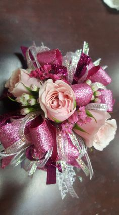 pink wrist corsage from Gallery Florist and Gifts 919-304-2222 www.galleryfloristandgifts.com Flower Corsage, Wrist Corsage, Prom Bouquet, Wedding Bouquets, Prom Flowers, Pretty Flowers, Homecoming Corsage, School Dances, Spring Weddings