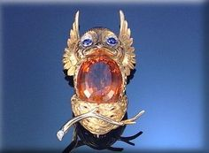 CITRINE, SAPPHIRE AND DIAMOND BROOCH, CARTIER, 1960S, Designed as an owl in its nest – Sotheby's