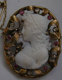 """""""Victorian Cut Out Cameo of a Muse""""  Hardstone, Diamonds, Rubies and 18k Gold,  France   c. 1860"""