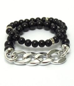 #0418-JMAX Chains & Pearls Bracelet - Black – Charmed and Company Creations