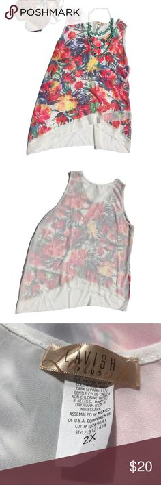 NWOT plus size tropical floral tank top 🌻Brand: Lavish Plus 🌻Size: 2XL 🌻Description: sheer off white tank top with colorful tropical floral print. A-symmetrical front hem. Perfectly airy and flowy for the warm weather. Can be dressed up or down! 🌻Condition: new without tags. Never worn. 🌻Other tags: Coachella, spring, summer, festival Lavish Plus Tops Tank Tops
