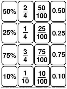 Decimals: Decimal cards for easy learning. A great resource.Decimals Cards: Fractions Cards: Percentages all in 1.Decimals, Fractions and Percentages Cards all in 1.139 mini cards   - 1 fraction, decimal, or percentage per card   - 16 cards per A4 sheet   - Suitable to print and laminate in black or white.  - Suitable to print the shapes in color/ colour   (We also have a color version to download)This resource is for year level 3 - 5 learners and anyone else wishing to revise or learn to…