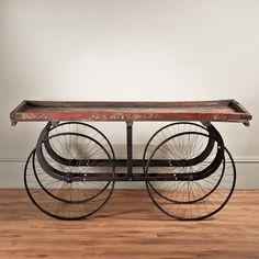 Street Vendor Market Cart Console Table