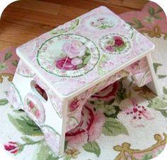 Stepstool, mosaic cottage, Shabby chic, pink roses, www.RomancingTheRoseStudio.com ©Website Design by: OneSpringStreet.NET 2011