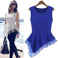 New Arrival 2014 Women Ladies Chiffon Forked Tail O-Neck Solid Color Loose Casual Shirts For Spring and Summer  $20.99