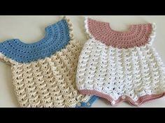 Crochet Romper, Crochet Bebe, Crochet Baby Clothes, Cute Crochet, Crochet For Kids, Knit Crochet, Baby Knitting Patterns, Baby Boy Knitting, Baby Patterns