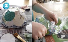 Bowls made with paper scraps and paper mache (Tutorial in Swedish and English)