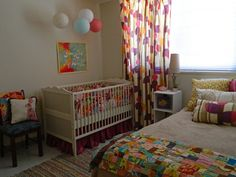 colorful, whimsical nursery and guest bedroom