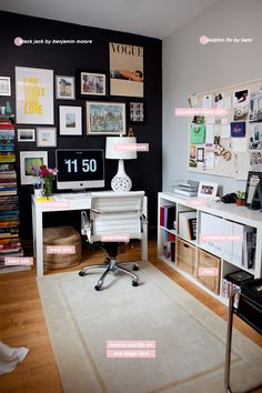 office spaces, black walls, office walls, desk, office area, home offices, workspac, officestudio inspir, craft rooms