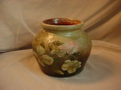 Antique Vtg Hand Painted Pot Planter Clay Pottery Ceramic Heavy 5 inch Shabby #BlackForest #Unknown Seller florasgarden on ebay