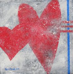 Original Heart paintings would look good as a collection together on the wall! $45 #hearts, #red, #original_paintings, #etsy