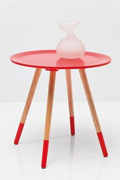 Charming Dipped Legs Side Table In Red   Urban Outfitters