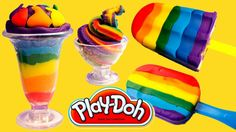 Rainbow Play-Doh Ice Cream and Lollies
