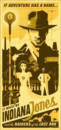 Indiana Jones Retro Poster Eric Tan. Raiders  http://www.geek-art.net/geek-art-loves-eric-tan/