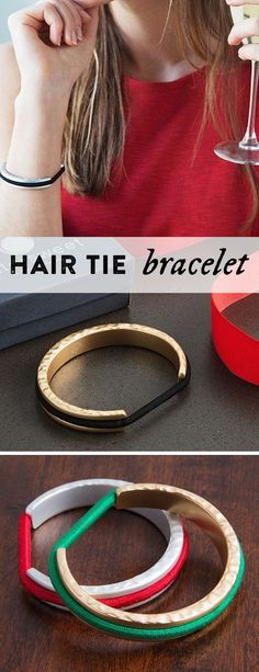 Carry a hair elastic on your wrist in an elegant (and indent-free) way. Slip the bracelet on, slip your elastic over, and it blends right in. This hair tie bracelet is the perfect gift for her.