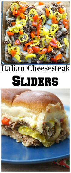 Italian Cheesesteak Sliders — layers of seasoned beef, Italian peppers, two types of cheese, and garlic mayonnaise, all sandwiched between sweet rolls and then baked until melty! This is an amazing slider recipe for a crowd or an easy dinner! Slider Recipes, Sandwich Recipes, Appetizer Recipes, Dinner Recipes, Appetizer Sandwiches, Italian Appetizers, Meat Appetizers, Party Appetizers, Italian Recipes