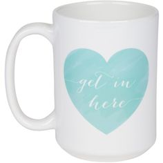 Moon & Lola Get In Here Mint Coffee Mug ($28) ❤ liked on Polyvore featuring home, kitchen & dining, drinkware, fillers, kitchen, food, accessories, moon and lola, heart mugs and oz cup