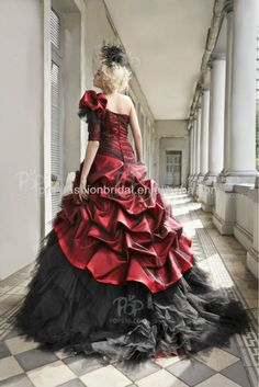 black and red tulle skirt | ... One Shoulder Ruched Bodice Tulle Skirt Red and Black Wedding Dress