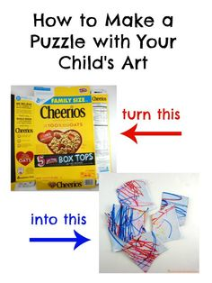 Use cereal boxes to make a puzzle with your child's art! This post is sponsored by General Mills®.