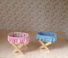 Items similar to Miniature crib on stand in pink or blue, scale crib, dolls house baby cradle, miniature cradle on wooden stand, HANDMADE on Etsy hashtags Barbie House Furniture, Doll Furniture, Doll House Crafts, Doll Crafts, Doll Houses, Diy Doll Miniatures, Miniature Dolls, Barbie Dolls Diy, Baby Dolls