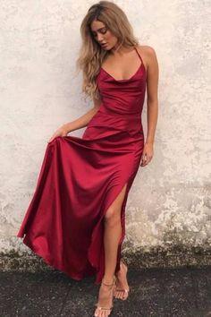 af1c7ca0049eaf3 Wine Red Prom Gown with Strappy Backless · Выпускные Платья ...