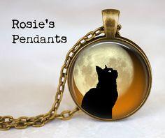 Black Cat Against Full Moon 1 by RosiesPendants on Etsy